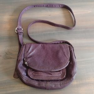 Lucky purple leather crossbody purse handbag